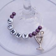 Martini Glass Personalised Wine Glass Charm
